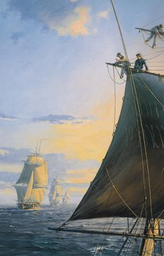 "Geoff Hunt Print - ""The Mauritius Command""  Cover art for Patrick O'Brian's Aubrey-Maturin series book. Sunset in the Indian Ocean, viewed from the upper masts of HMS Otter. The Otter, a ship-sloop, was a relatively small vessel with 18 guns. Beyond her are the larger frigates Boadicea, Sirius, and Nereide. All the ships are busy shortening sail and taking in their topgallants - a common precaution at nightfall if squalls were expected.  -- on ScrimshawGallery.com  #GeoffHunt #Aubrey"