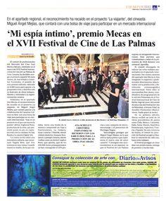 El premio #IslaMecas a 'La viajante' en 'Diario de Avisos', 5/4/2017.