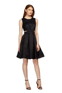 Jacquard Cut Out from PHOEBE. Jacquard bodice with a-line skirt and cut out detail. $350