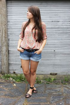 Zara dress/shirt - HM shorts - Maje x Vanessa Traina sandals