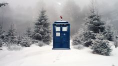 Doctor Who TARDIS Winter Wallpaper by MonochromeReflection on DeviantArt Doctor Who Tardis, I Wallpaper, Tardis Wallpaper, Geronimo, Geek Girls, Blue Box, Fire And Ice, Geek Stuff, Deviantart