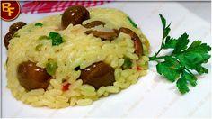 Risotto con peperoni olive e fesa di tacchino