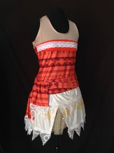 Moana inspired complete running outfit Two piece outfit Racerback top Skirt with attached compression shorts (under tulle for fullness). Two layers with laced hem Sash This is a custom made and custom printed material  ***Crop top option available***  With thirty years of experience in the industry I know you will be pleased with your purchase, as all the items are made to the highest possible standard, and very much matches what you will find in the stores. My design center is equipped with…