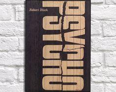 WOOD BOOK COVER art print Wood wall art Vintage Robert Bloch Psycho Book cover art, Rustic panel effect Psycho Book cover wood art print by Woodprintz on Etsy