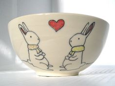 Items similar to Handmade Ceramic Bowl- Bunny Rabbit Bowl- Made to Order on Etsy Bisque Pottery, Ceramic Bisque, Ceramic Bowls, Pottery Painting, Ceramic Painting, Pottery Designs, Pottery Ideas, Paint Your Own Pottery, Bunny Rabbit
