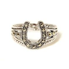 I don't wear rings, but this is cute Ladies Marcasite Horseshoe Ring
