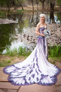 Purple Trimmed Wedding Dress Via Offbeat Bride. Sold By: Http://www