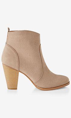 faux suede western heeled bootie