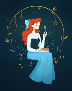 "And here is Ariel, the little mermaid became human, and enjoying human traditions eating ""bûche de Noël"" (and finally learning how to use a… Disney Kunst, Arte Disney, Disney Magic, Disney Little Mermaids, Disney Girls, The Little Mermaid, Disney And Dreamworks, Disney Pixar, Disney Characters"