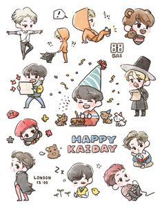 HappyKAIday <credits to owner> Desktop Wallpapers Tumblr, Cool Wallpapers For Phones, Exo Stickers, Laptop Stickers, Vintage Floral Wallpapers, Exo Fan Art, Exo Kai, Kpop Fanart, Doodle Art