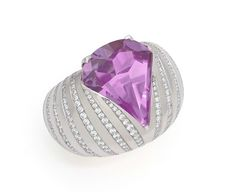A Shield-Shaped Amethyst and Diamond Ring by SABBA. Photo courtesy of Symbolic & Chase