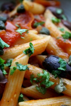 Penne alla puttanesca (vodka in the sauce makes this forever memorable)  Named for the ladies of the evening who would create a dish of this pasta and place in window to entice..customers...with its incredible fragrance