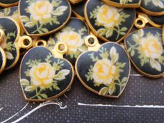 Vintage Matte Enamel Yellow Rose & Black Brass Heart Charms Drops Limoge - 2 by alyssabethsvintage on Etsy