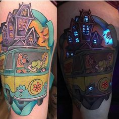 90s kid tattoo: Scooby Doo glow in the dark half sleeve