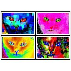 Retro Kitty Art Prints Set of Four 11X14 Vivid Prints by South Shore Art on Opensky