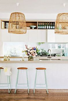 woven basket lights + cute, mint stools