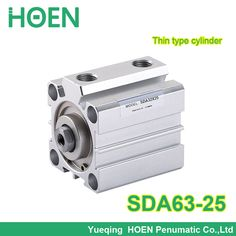 SDA63-25 SDA series 63mm Bore 25mm Stroke Pneumatic Air Compact Cylinder Double Action Airtac Type SDA63*25 Aluminum Alloy #Affiliate