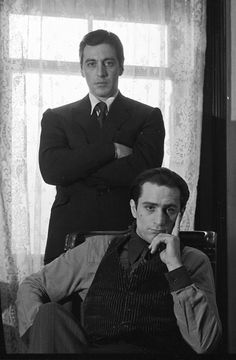 A gallery of The Godfather: Part II publicity stills and other photos. Featuring Al Pacino, Robert De Niro, Diane Keaton, Francis Ford Coppola and others. Black White Photos, Black And White, The Godfather Part Ii, The Godfather Poster, Godfather Movie, Don Corleone, By Any Means Necessary, Classic Movies, Best Actor