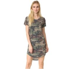 Haute Hippie T-Shirt Dress ($245) ❤ liked on Polyvore featuring dresses, camo, camouflage jerseys, camo jerseys, camouflage dresses, cap sleeve dress and camoflage dresses