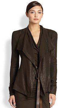 Donna Karan Asymmetrical Faux Leather Jersey Jacket on shopstyle.com.au