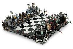 AWESOME Lego Castle Chess Set! It would be a dream to own this! Orc army versus Dwarves and knights - intricate designs, rare pieces, cool look... But inanely pricey!