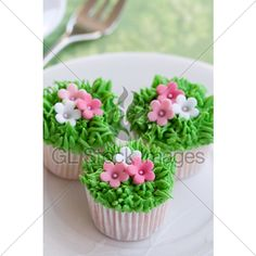 Mini Cupcakes Decorated With Frosted Grass And ...
