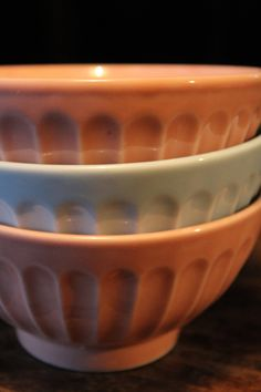 French vintage Breakfast bowls Pastel Blue and Pink by frenchvintagetreasur on Etsy