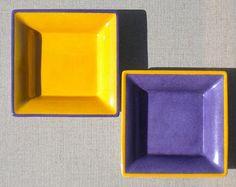 Ensemble de deux vide-poches jaune/violet et violet/jaune