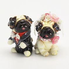 Sweet Couple Pug Dog Wedding Cake Topper Clay Sculpted Gifts 00023 - http://wedding-cake-topper.com/sweet-couple-pug-dog-wedding-cake-topper-clay-sculpted-gifts-00023/