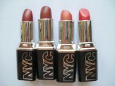 NYC rectangular lipsticks: Garnet, Plum Rum, Rose Gold and Red Flame  #lipstick #lips #swatches #NYC #makeup #beauty #cosmetics