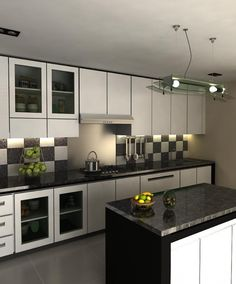 Black White Modular Kitchen Design Purplr Combination Color Creative Brown And Blue Curtain Bedroom
