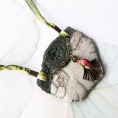Collier raku ☼ les minoennes ☼ - tulipe atlante -, céramique artisanale, pièce unique de créateur.