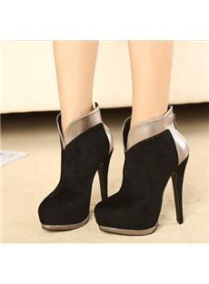 Sexy Black Suede Metallic Contrast Colour Thick Platform Ankle Boots
