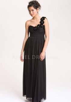 One Shoulder A line Empire Chiffon With Flowers Sleeveless Evening Dresses