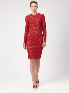 Valentino Red Long Sleeve Lace Dress