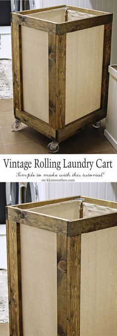 Vintage Rolling Laundry Cart is easy to make & adds charm to your laundry space. A functional & practical project with a reclaimed wood look to make laundry day easier! - Diy Crafts for The Home Wood Projects For Beginners, Easy Wood Projects, Easy Woodworking Projects, Garden Projects, Diy Pallet Furniture, Furniture Projects, Wood Furniture, Bedroom Furniture, Laundry Cart