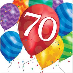 Descriptions Balloon Blast 70th Birthday Lunch Napkins - Design : Balloon Blast…