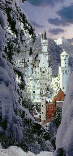 Neuschwanstein Castle in winter A Romanesque Revival palace on a rugged hill above the village of Hohenschwangau near Füssen in southwest Bavaria, Germany. The palace was commissioned by Ludwig II of Bavaria as a retreat and as a homage. Places Around The World, The Places Youll Go, Places To See, Wonderful Places, Beautiful Places, Simply Beautiful, Photo Chateau, Neuschwanstein Castle, Famous Castles