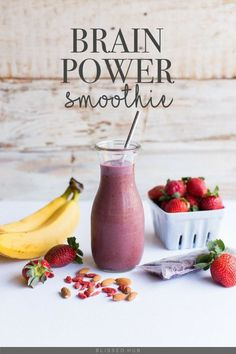 BRAIN POWER SMOOTHIE - bananas, strawberries, oranges, apples. papaya, carrot, kale, chia seeds, acai, pomegranate, mango, pumpkin seeds, greek yogurt, dark chocolate, coffee, quinoa, maple syrup, peanut butter, avocado, goji berries, coconut, peaches, pineapple + more - THESE 7 HEALTHY SMOOTHIES TASTE DELICIOUS BUT MORE IMPORTANTLY ARE SUPER HEALTHY! FIND OUT HOW YOU CAN MAKE THEM TODAY!
