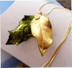Real Leaf Jewelry, Exclusive Design, It's all HOLLY - double Holly leaf with green and gold