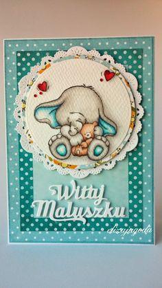 Witaj maluszku... Baby Cards, Cute Cards, Elephant, Teddy Bear, Studio, Rose, Artist, Card Ideas, Prints
