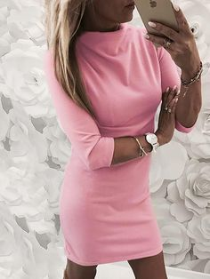 Solid Mock Neck Bodycon Casual Dress Shop- Women's Best Online Shopping - Offering Huge Discounts on Dresses, Lingerie , Jumpsuits , Swimwear, Tops and More. Casual Dresses For Women, Trendy Outfits, Buy Dress, Pattern Fashion, Mock Neck, Sleeve Styles, Bodycon Dress, Style Fashion, Fashion Outfits