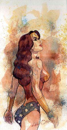 """""""Wonder Woman Watercolor"""" by Lee Oaks"""