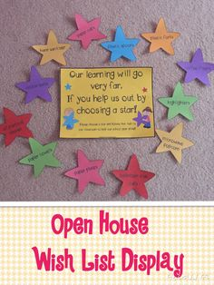 Get your students involved in Back to School Night or Open House! Parents choose a star and donate the item to your classroom. What a great way to get many needed items for your classroom!