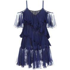 Philosophy Di Lorenzo Serafini Ruffled Silk Dress ($945) ❤ liked on Polyvore featuring dresses, blue, flouncy dress, silk ruffle dress, ruffle dress, frill dress and blue dress