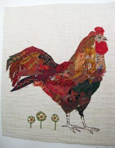 Unframed appliqued and hand embroidered chicken by MandyPattullo