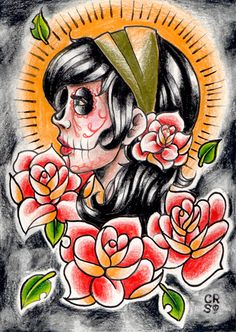 Day of the Dead gypsy drawing by *misscarissarose on deviantART