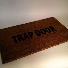 Trap Door Door Mat size opts by uncommondoormats on Etsy Trap Door, Funny Doormats, Coir Doormat, Haunted Mansion, Welcome Mats, Hand Painted, Doors, Make It Yourself, Handmade Gifts