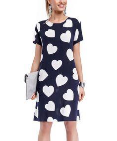 Love this Navy & White Heart Shift Dress on #zulily! #zulilyfinds