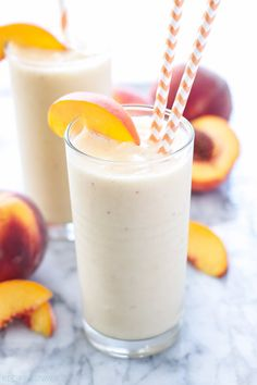 Frozen peaches, green tea, Greek yogurt, and honey are blended together making the most delicious, frosty, and filling smoothie you'll make this summer!